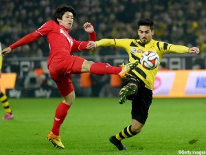 of Dortmund battles for the ball with of Koeln during the Bundesliga match between Borussia Dortmund and 1. FC Koeln at Signal Iduna Park on March 14, 2015 in Dortmund, Germany.