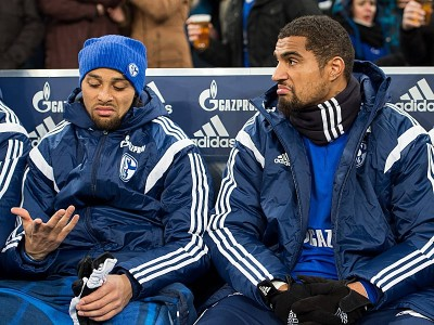 Samstag 31.01.2015, 1. Bundesliga, Saison 2014/2015, 18. Spieltag in Gelsenkirchen, FC Schalke 04 - Hannover 96, Enttaeuschung, Enttaeuscht, Kevin Prince BOATENG (Schalke) auf der Ersatzbank, Mimik, links Sidney SAM (Schalke) DeFodi01045016093 Saturday 31 01 2015 1 Bundesliga Season 2014 2015 18 Matchday in Gelsenkirchen FC Schalke 04 Hanover 96 Disappointment DISAPPOINTED Kevin Prince Boateng Schalke on the Substitutesu0026#39; bench Facial expressions left Sidney Sat Schalke DeFodi01045016093